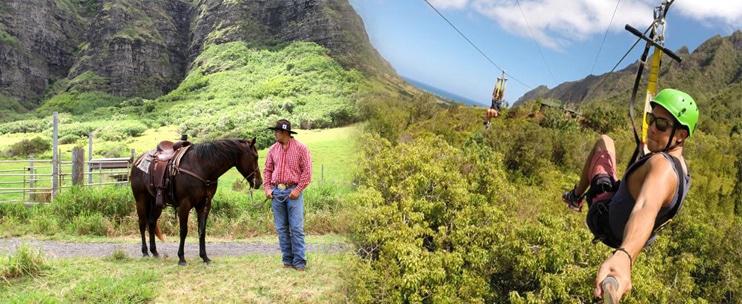 Kualoa Ranch – Treetop Canopy Zipline Tour & Horseback Combo